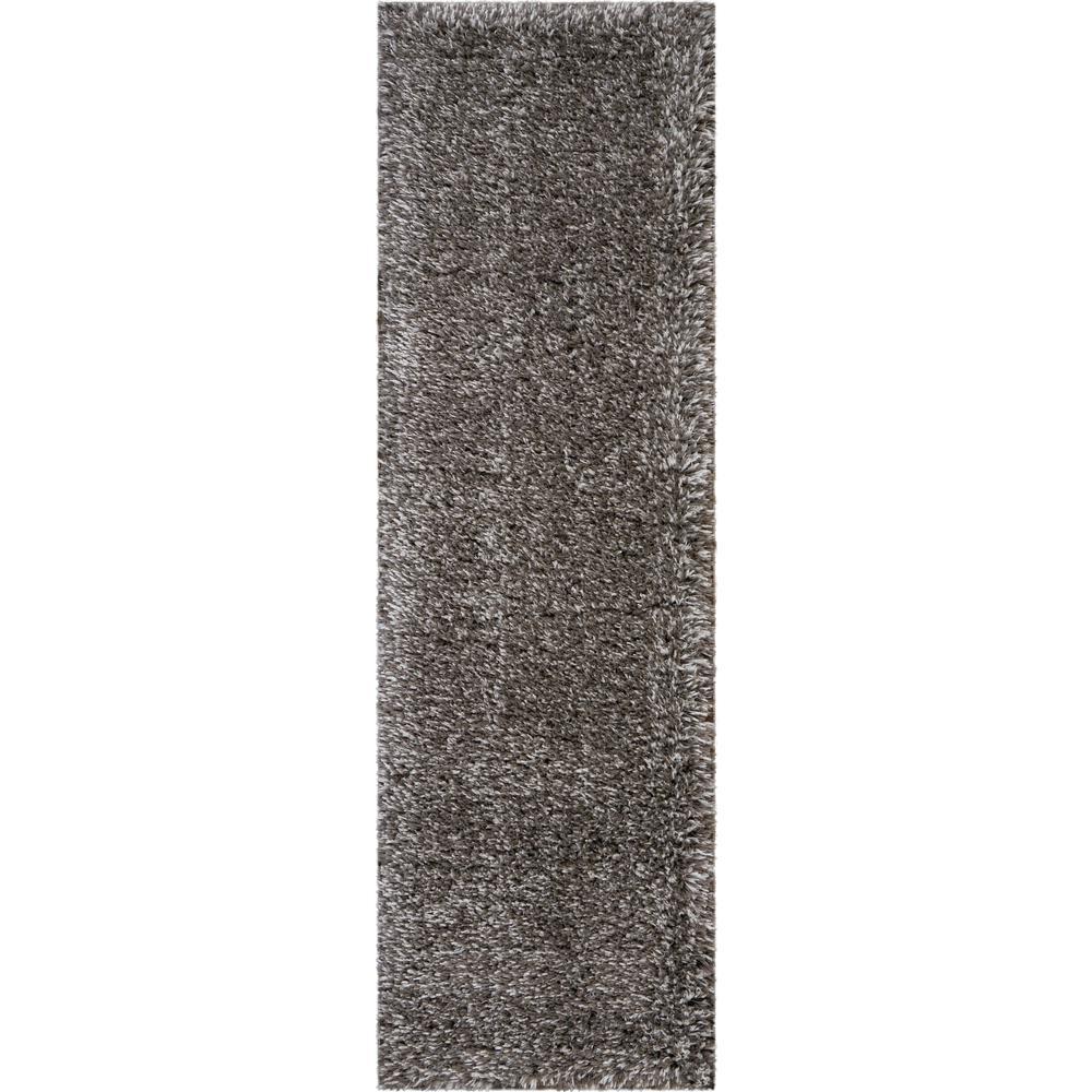 Nourison Ultra Plush Shag 8' Runner Charcoal Grey Plush Area Rug