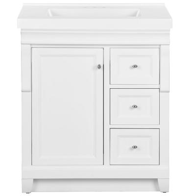 Naples 31 in. W x 22 in. D Bath Vanity in White with Cultured Marble Vanity Top in White with White Sink