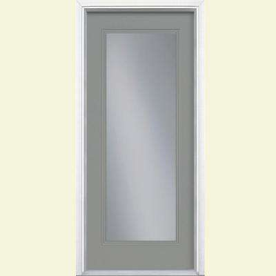 36 in. x 80 in. Full Lite Left Hand Inswing Painted Smooth Fiberglass Prehung Front Door with Brickmold, Vinyl Frame