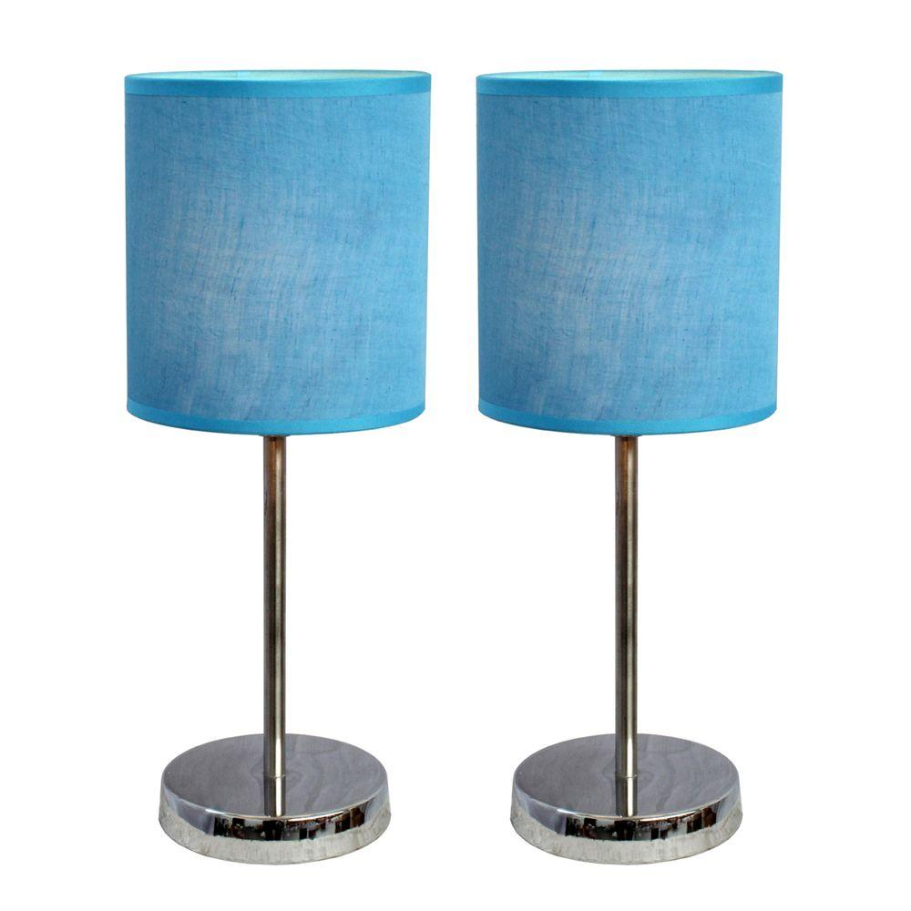 Simple Designs 11.89 in. Chrome Mini Basic Table Lamps with Blue Fabric Shades (2-Pack)