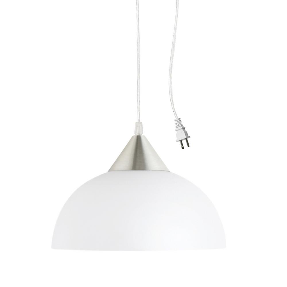 Globe Electric Amris 1-Light 11 in. Plug-In White Hanging