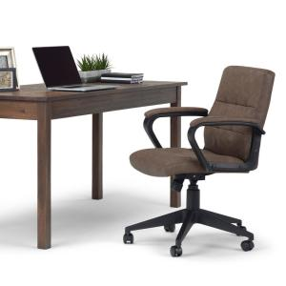 Awe Inspiring Simpli Home Brewer Distressed Brown Swivel Adjustable Theyellowbook Wood Chair Design Ideas Theyellowbookinfo