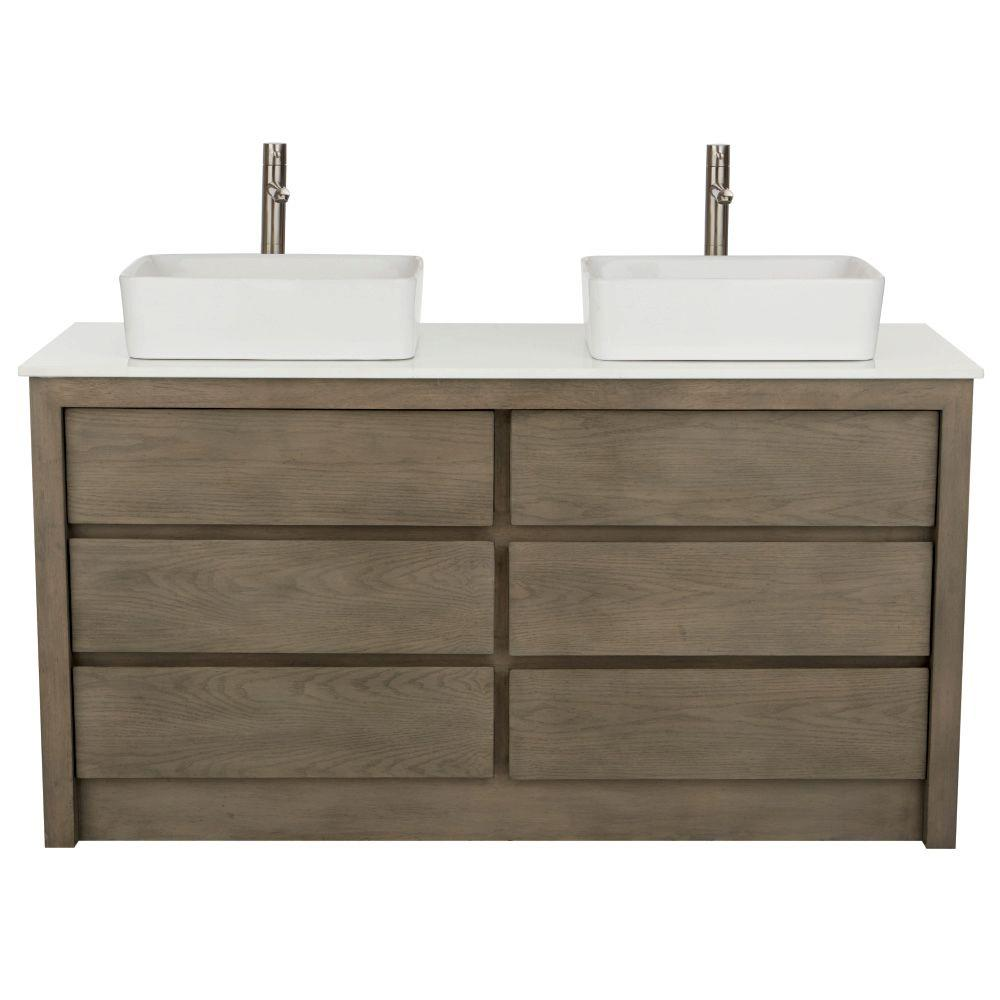 Home Decorators Collection Lawrence 60 In W Vanity In Weathered Grey With Marble Vanity Top In