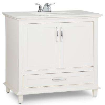 Ariana 36 in. W x 21.5 in. D Bath Vanity in Soft White with Quartz Marble Vanity Top in Bombay White with White Basin