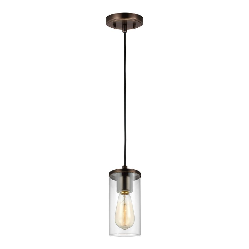SeaGullLighting Sea Gull Lighting Zire 1-Light Brushed Oil Rubbed Bronze Mini Pendant with Clear Glass Shade