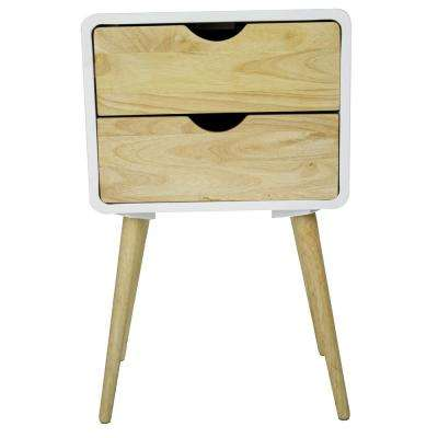 Shelly 26 in. White Wood End Table
