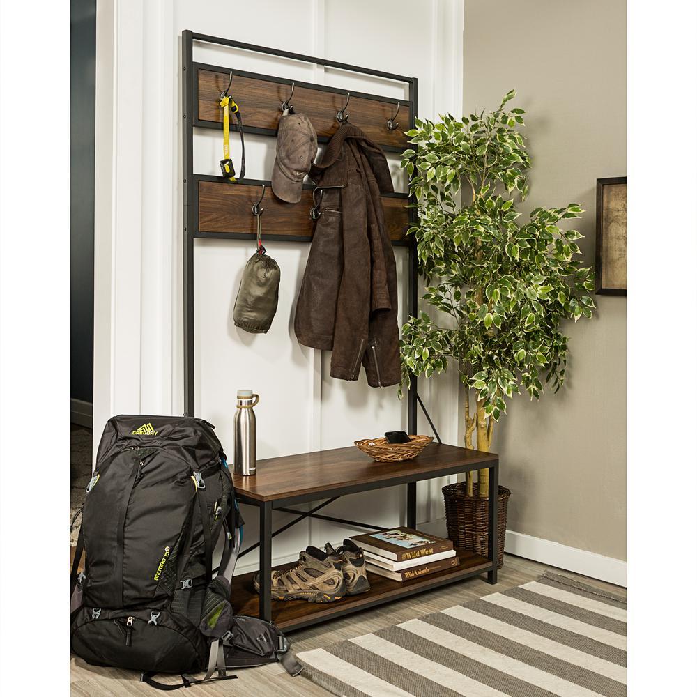 "40"" Rustic Industrial Wood Open Storage Hall Tree - Dark Walnut"