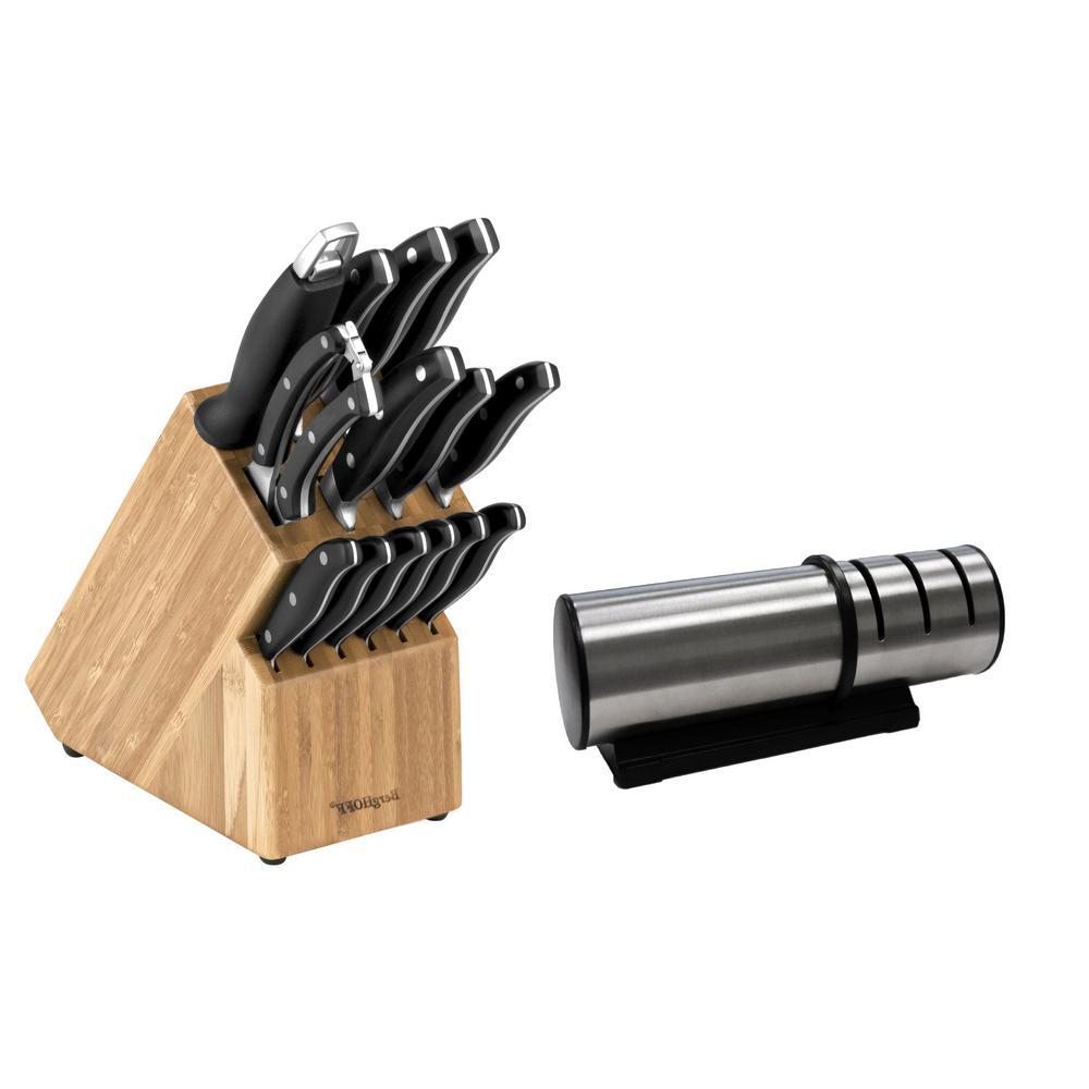 Essentials 15-Piece Cutlery Set and Block Set with Sharpener