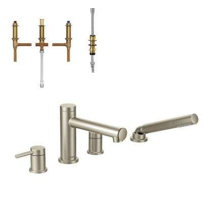 Align 2-Handle Deck Mount Roman Tub Faucet Trim Kit with Handshower and Valve in Brushed Nickel