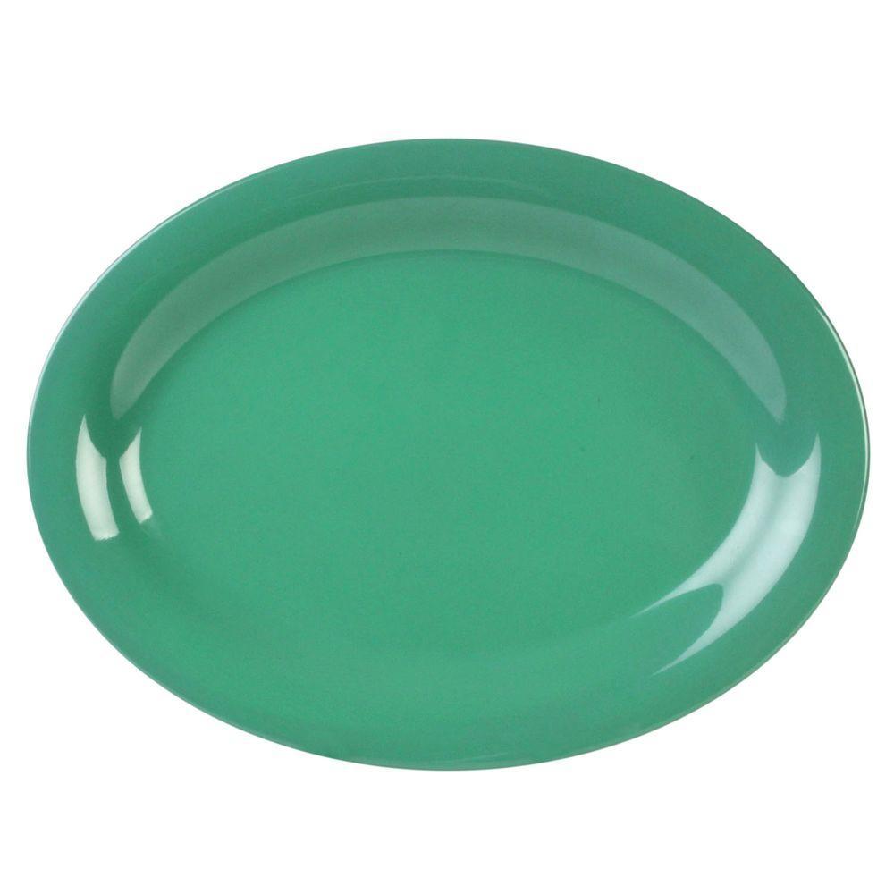 Restaurant Essentials Coleur 12 in. x 9 in. Platter in Green (12-Piece)