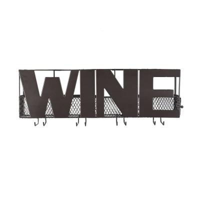 Five Bottle Brown Wall Mount Wine Holder with Glass Rack