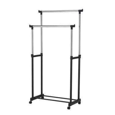 17 in. x 37 in. Metal Double Garment Rack in Black and Chrome