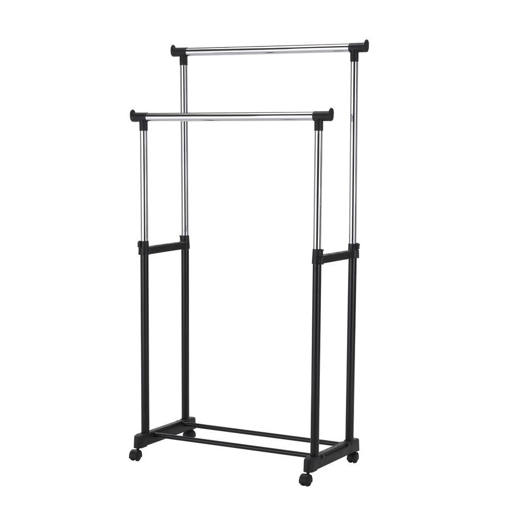 60 in. Metal Double Garment Rail in Black and Chrome