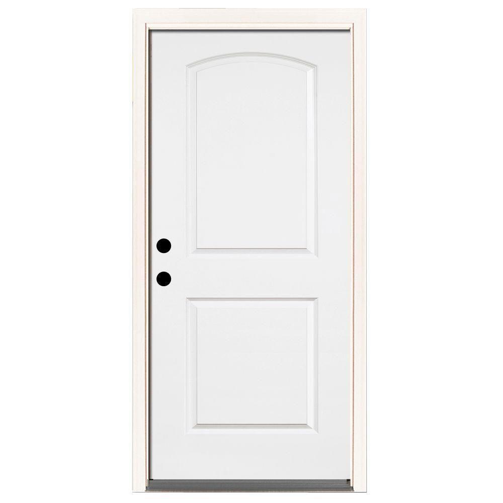 36 in. x 80 in. Premium 2-Panel Arch Primed White Steel
