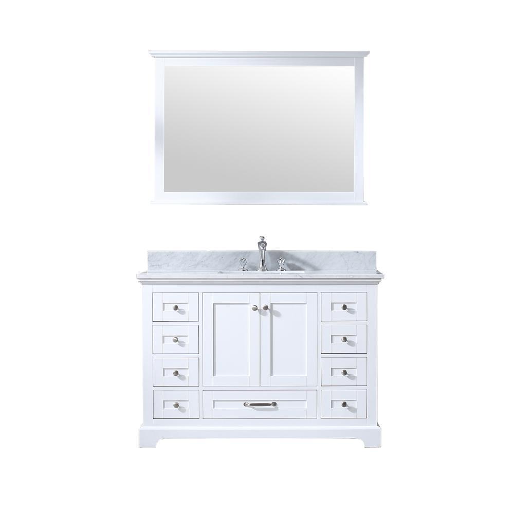 Lexora Dukes 48 in. Single Bath Vanity in White w/ White Carrera Marble Top w/ White Square Sink and 46 in. Mirror