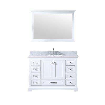 Dukes 48 in. Single Bath Vanity in White w/ White Carrera Marble Top w/ White Square Sink and 46 in. Mirror