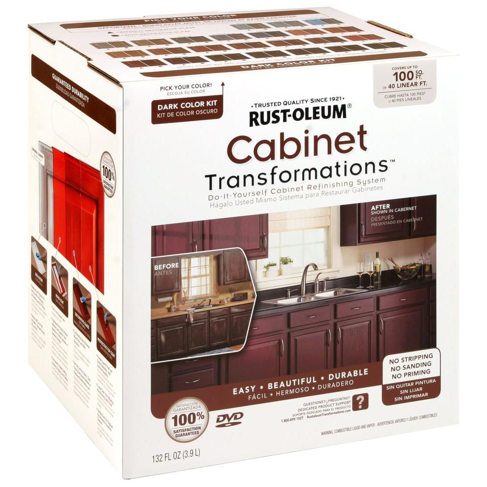 Best Paint For Kitchen Cabinets No Sanding: Rust-Oleum Transformations Dark Color Cabinet Kit (9-Piece