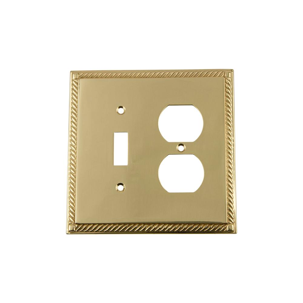 Rope Switch Plate with Toggle and Outlet in Polished Brass