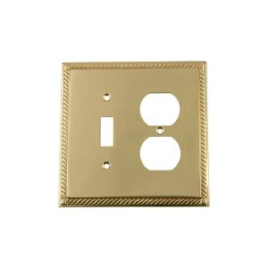 Nostalgic Warehouse Rope Switch Plate with Toggle and Outlet in Polished Brass by Nostalgic Warehouse