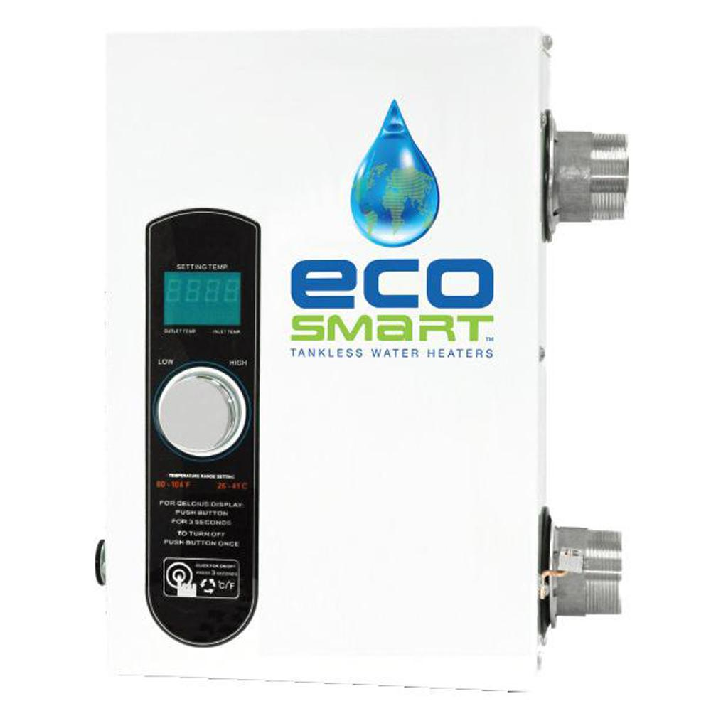 EcoSmart 27 kW 4.07 GPM Smart Pool Electric Pool Tankless Water Heater EcoSmart Electric Tankless Spa and Pool Heaters are designed to provide reliable, efficient, convenient, on demand heating. EcoSmart Pool Heaters operate by utilizing the latest flow sensor technology instead of the traditional pressure switch activation to reduce the risk of burned elements, which increases its reliability and longevity. The Smart POOL series come with digital thermostat control so you can set the temperature exactly where you want it. EcoSmart Pool Heaters are compact and easy to install for a new or existing pool.