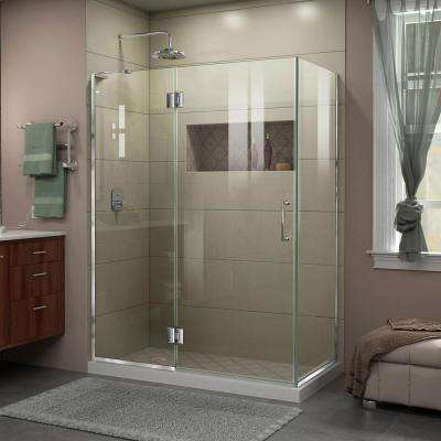 Unidoor-X 30 in. x 47-3/8 in. x 72 in. Frameless Corner Hinged Shower Enclosure in Chrome