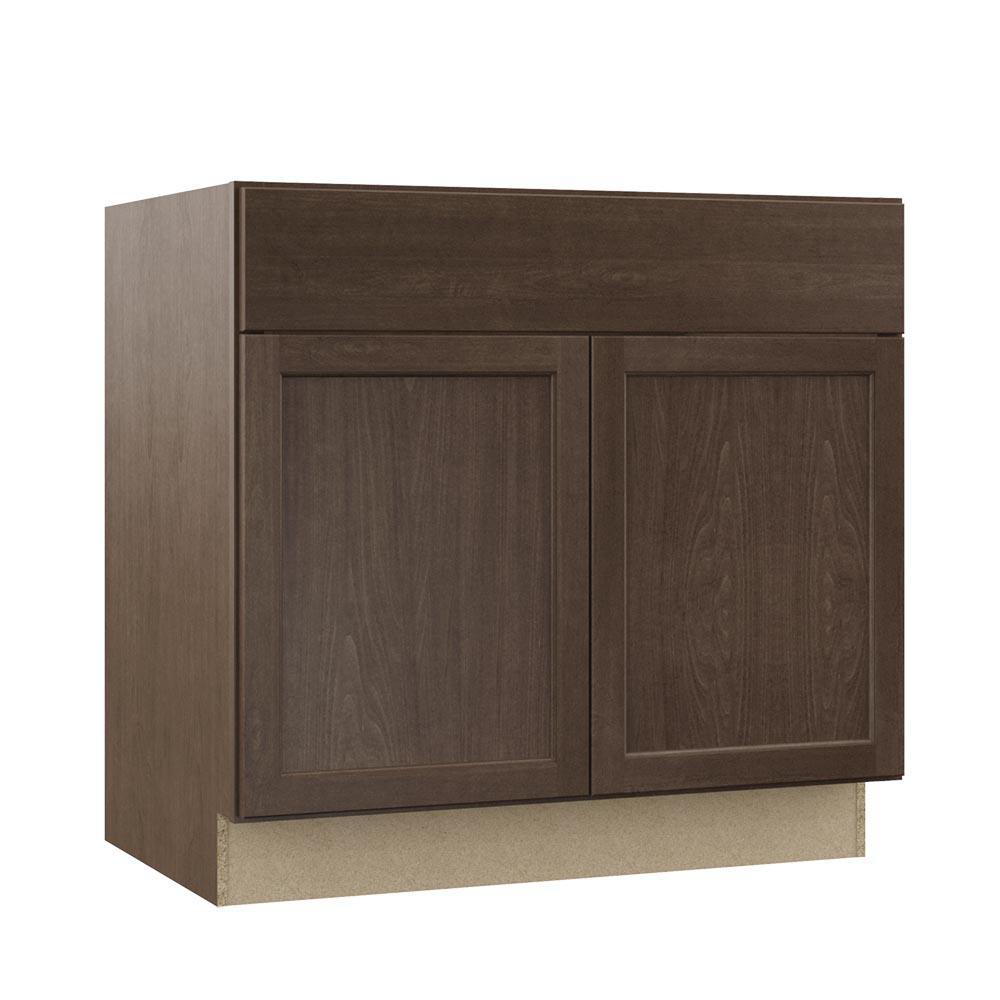 Shaker Assembled 36 x 34.5 x 21 in. Bathroom Vanity Base Cabinet in Brindle