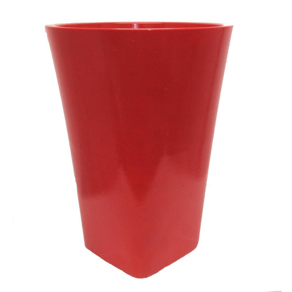 Stockholm 16 in. W x 21 in. H Carmine Resin Decorative Vase