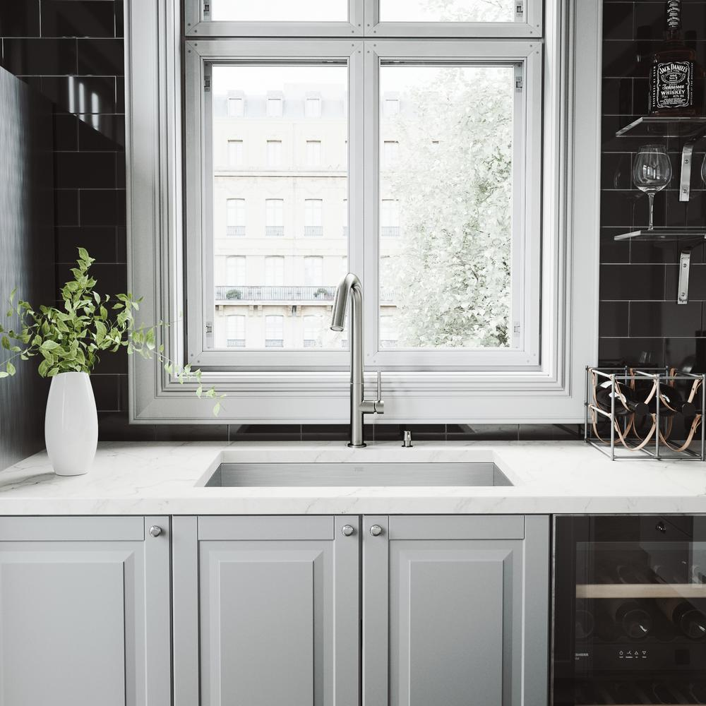 VIGO All-in-One Stainless Steel Single Bowl Undermount Kitchen Sink with Pull Down Faucet in Stainless Steel, Satin was $499.9 now $349.9 (30.0% off)