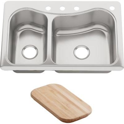 Staccato Drop-In Stainless Steel 33 in. 4-Hole Double Offset Bowl Kitchen Sink with Included Hardwood Cutting Board