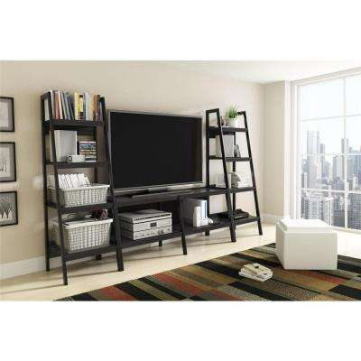 Ladder Bundle 4-Shelf Bookcase in Black (Set of 2)