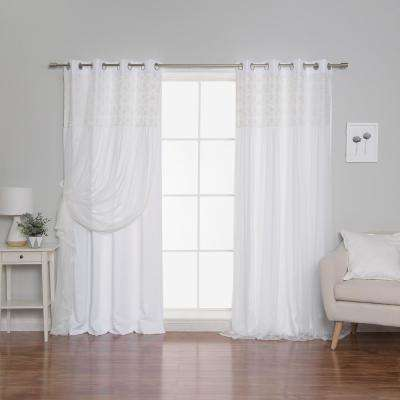 White 84 in. L Irene Lace Overlay Room Darkening Curtain Panel (2-Pack)