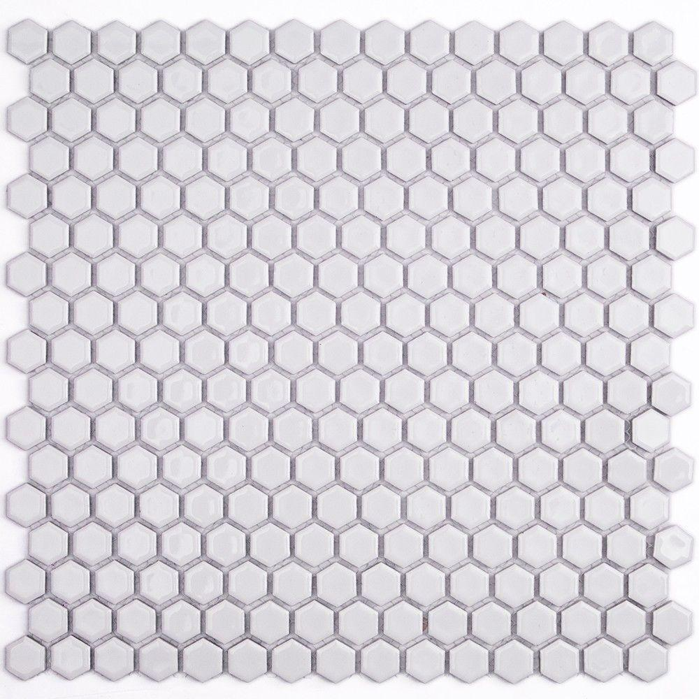 Splashback Tile Bliss Hexagon Polished White Ceramic Mosaic Floor And Wall 3 In