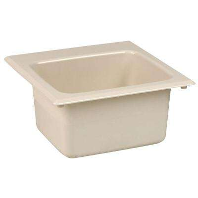 15 in. x 15 in. Fiberglass Self-Rimming Bar Sink in Bone