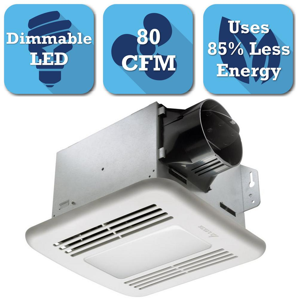 80 CFM Ceiling Exhaust Bath Fan with Dimmable LED Light