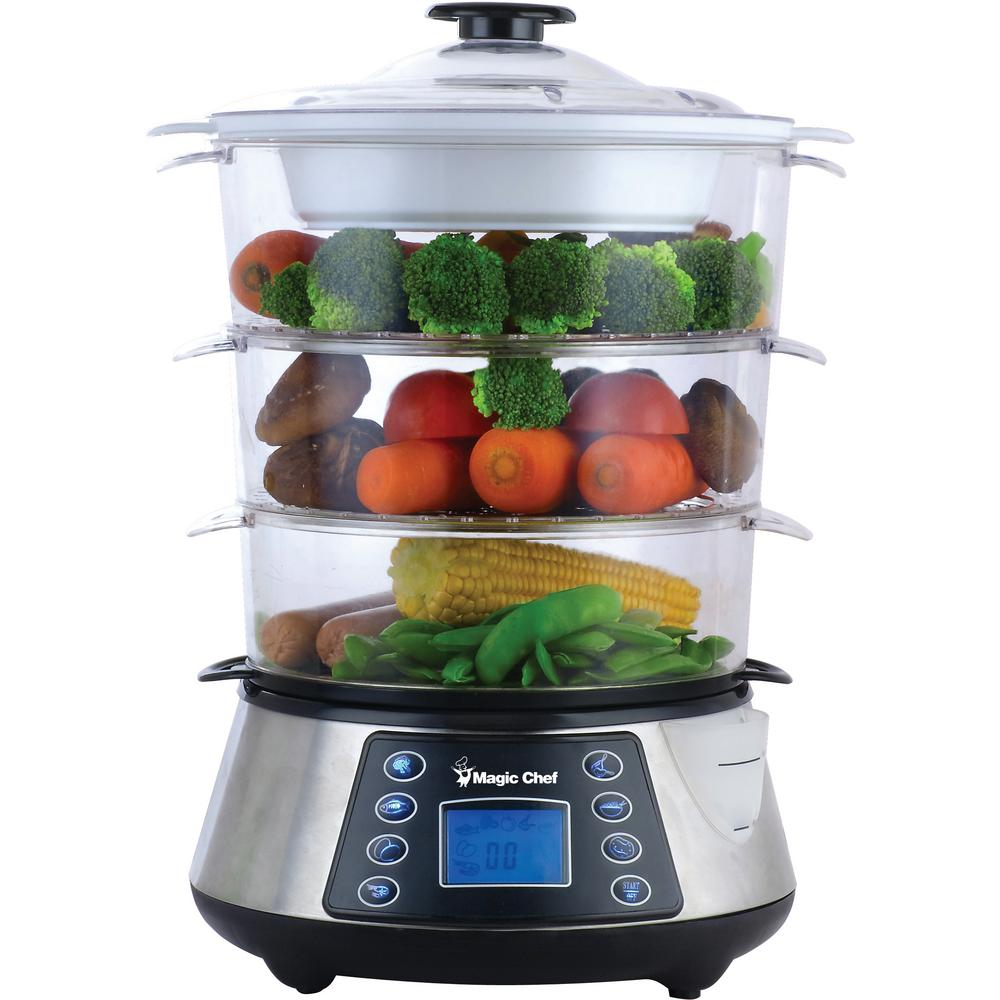 Kitchen Living Food Steamer: Magic Chef 3-Tier Counter Top Food Steamer In Stainless