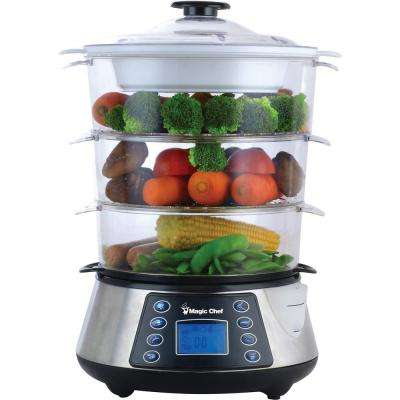 3-Tier Counter top Food Steamer in Stainless Steel
