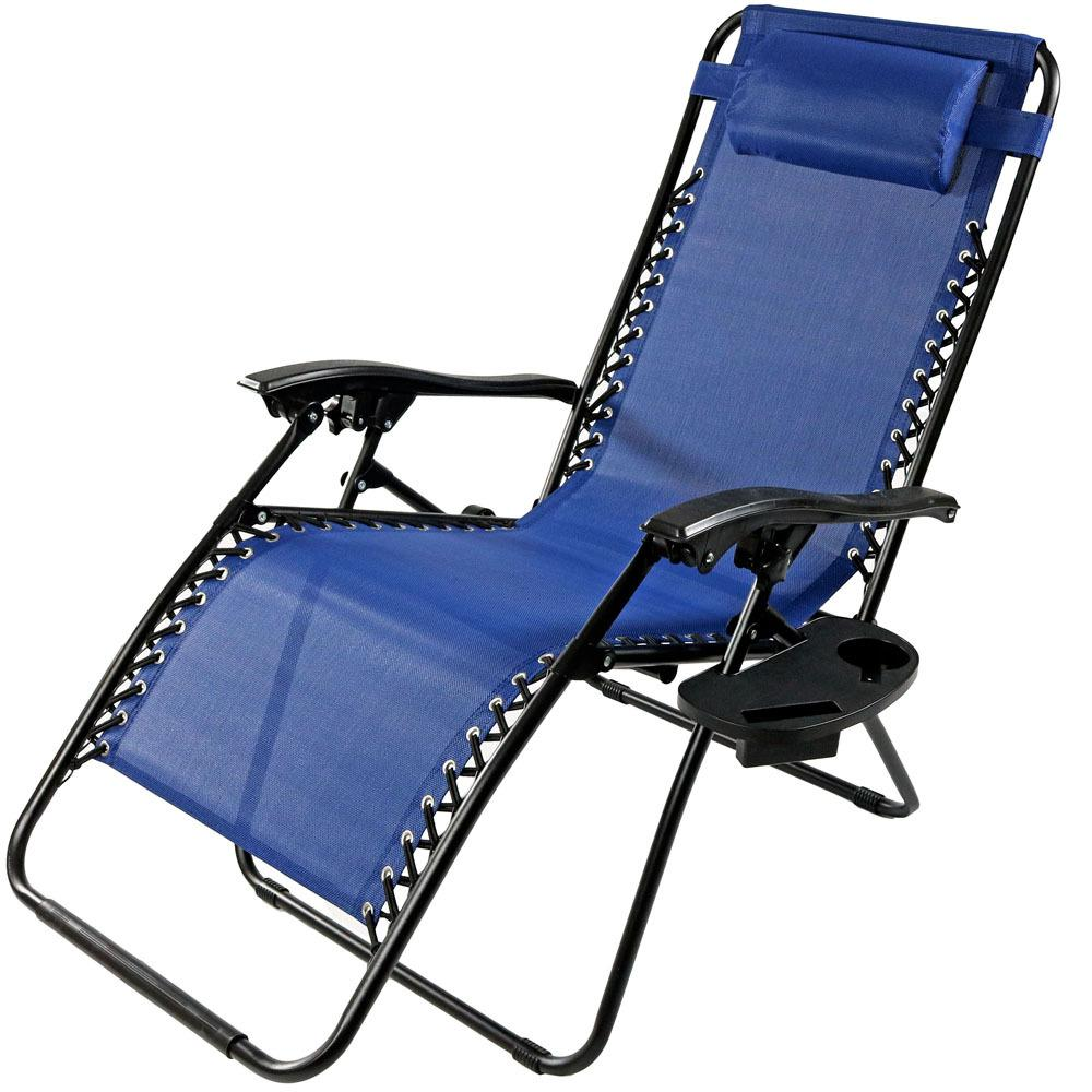 Marvelous Sunnydaze Decor Oversized Navy Blue Zero Gravity Sling Patio Lounge Chair With Cupholder Ocoug Best Dining Table And Chair Ideas Images Ocougorg