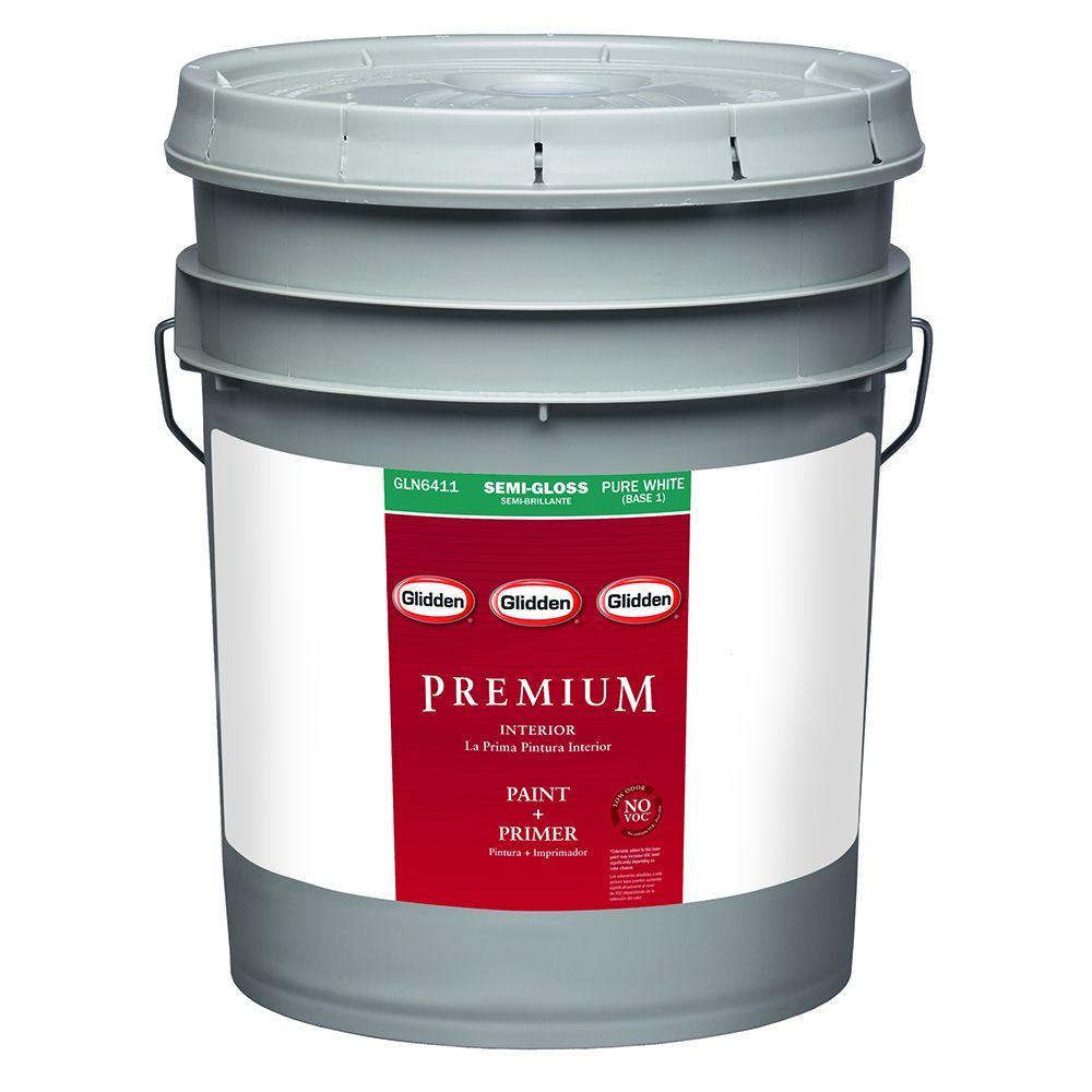 Glidden Premium 5 gal. Pure White Semi-Gloss Latex Interior Paint