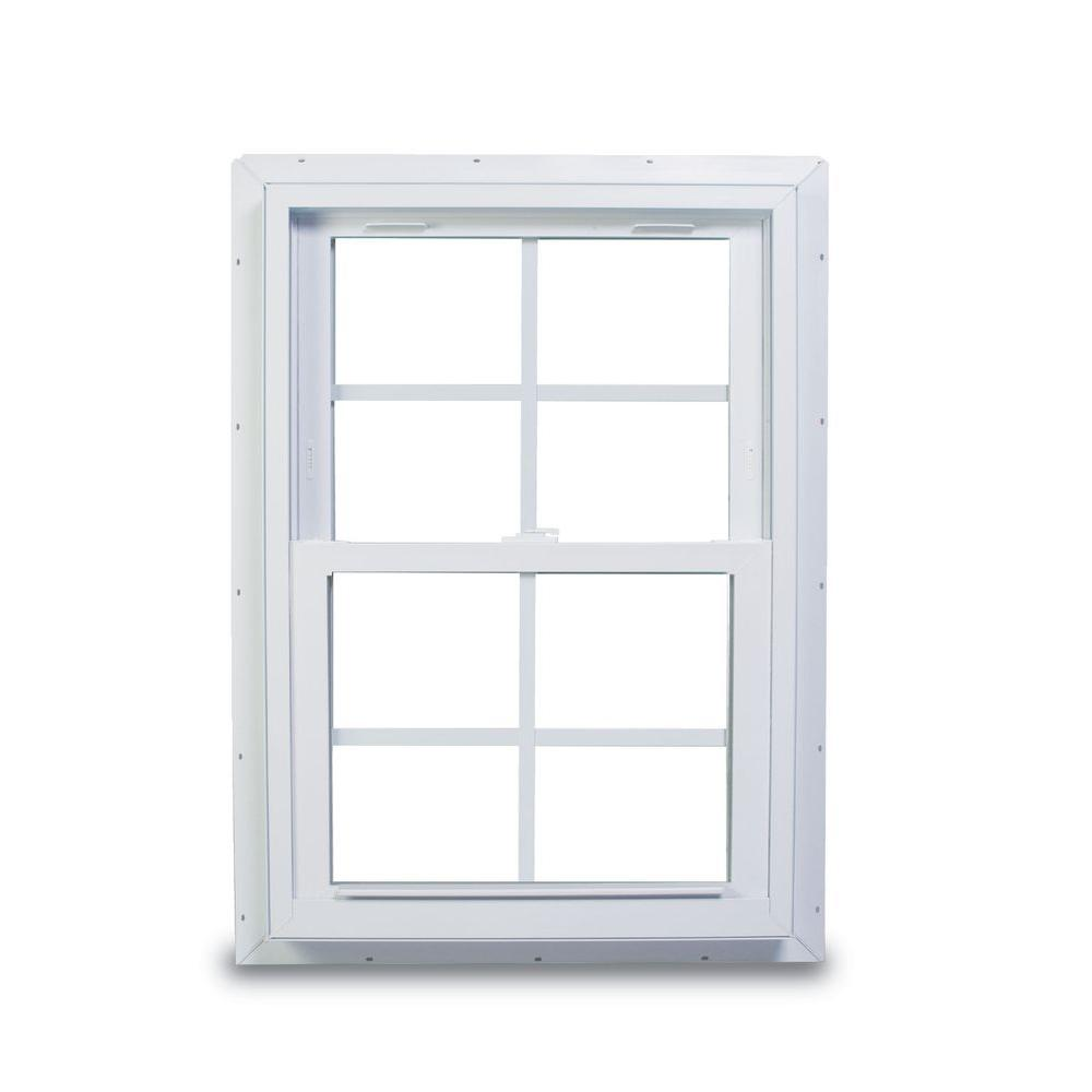 American Craftsman 25.75 in. x 40.75 in. 70 Series Double Hung White Vinyl Window with Nailing Flange and Colonial Grilles