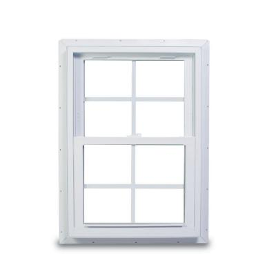 25.75 in. x 40.75 in. 70 Series Double Hung White Vinyl Window with Nailing Flange and Colonial Grilles