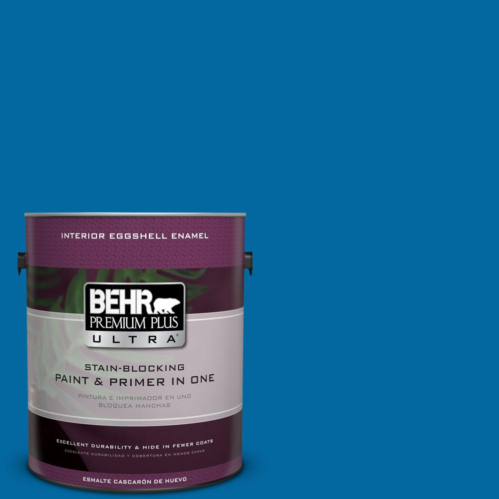BEHR Premium Plus Ultra 1 gal. #S-G-560 Jazz Blue Eggshell Enamel Interior Paint and Primer in One