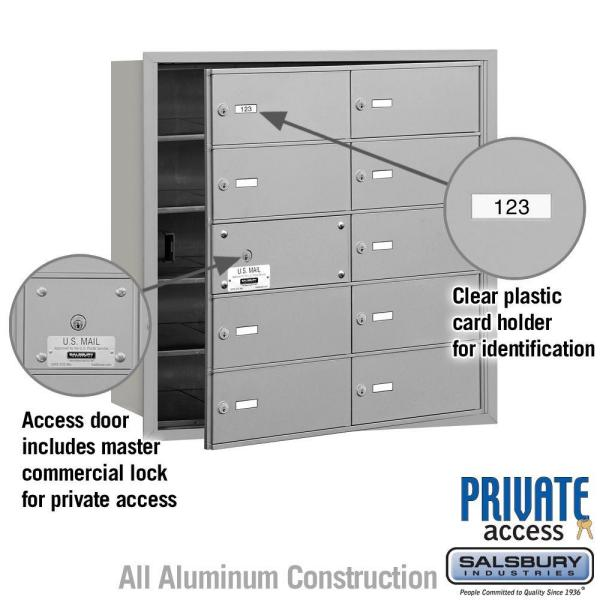 Salsbury Industries 3600 Series Aluminum Private Front Loading 4b Plus Horizontal Mailbox With 10b Doors 9 Usable 3610afp The Home Depot