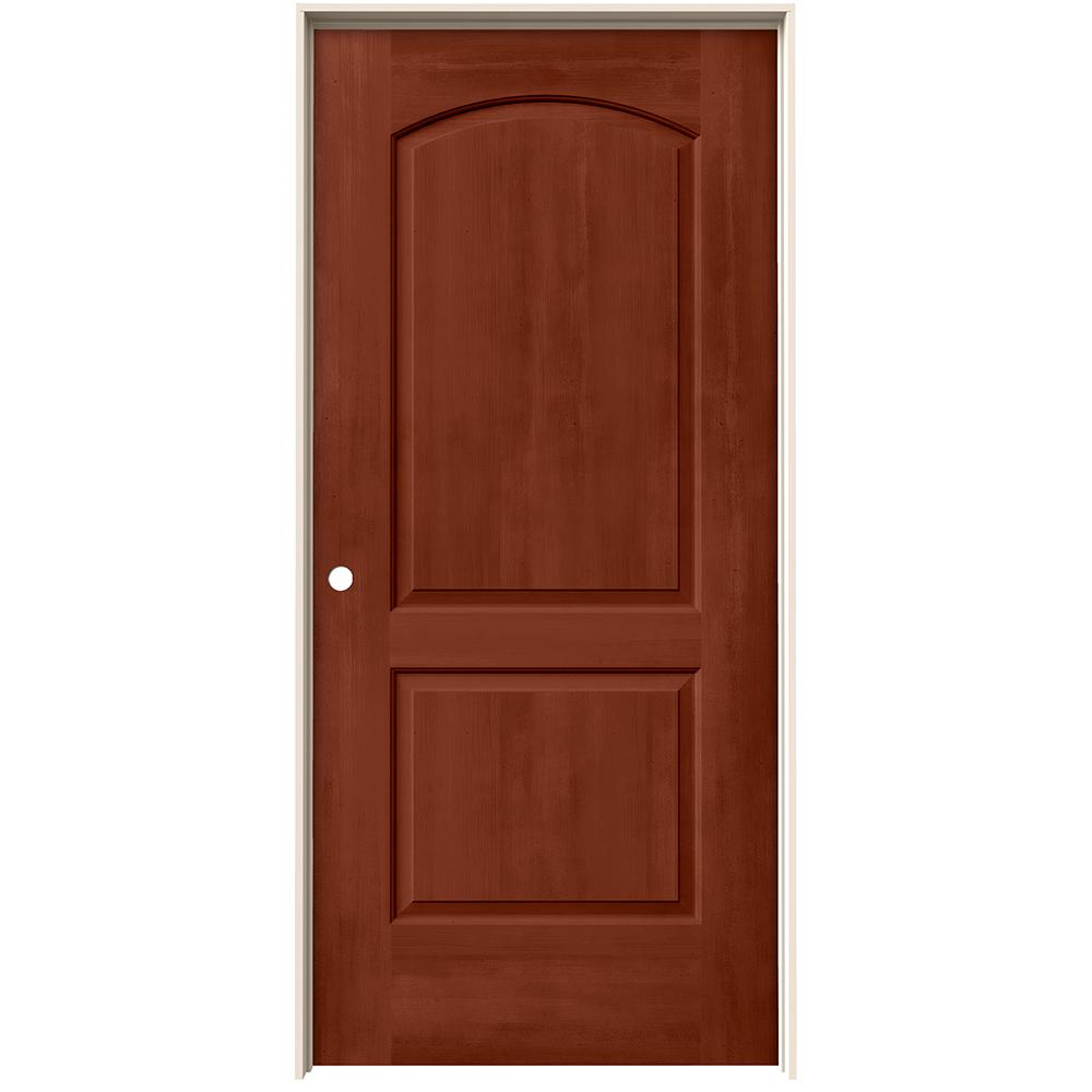 Jeld Wen 36 In X 80 In Continental Amaretto Stain Right Hand Solid Core Molded Composite Mdf