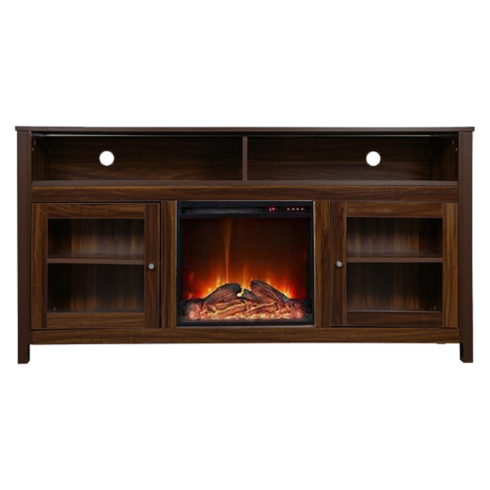 Y Decor 19 Wide Electric Fireplace Insert And Brown Cabinet Fpc13