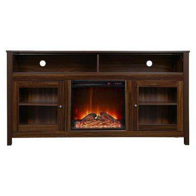 19 Wide Electric Fireplace Insert and Brown Cabinet
