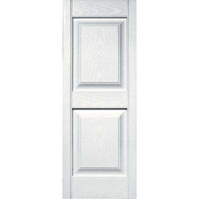 15 in. x 39 in. Raised Panel Vinyl Exterior Shutters Pair in #001 White