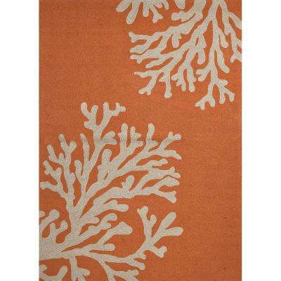 Apricot Orange 9 ft. x 12 ft. Abstract Indoor/Outdoor Area Rug