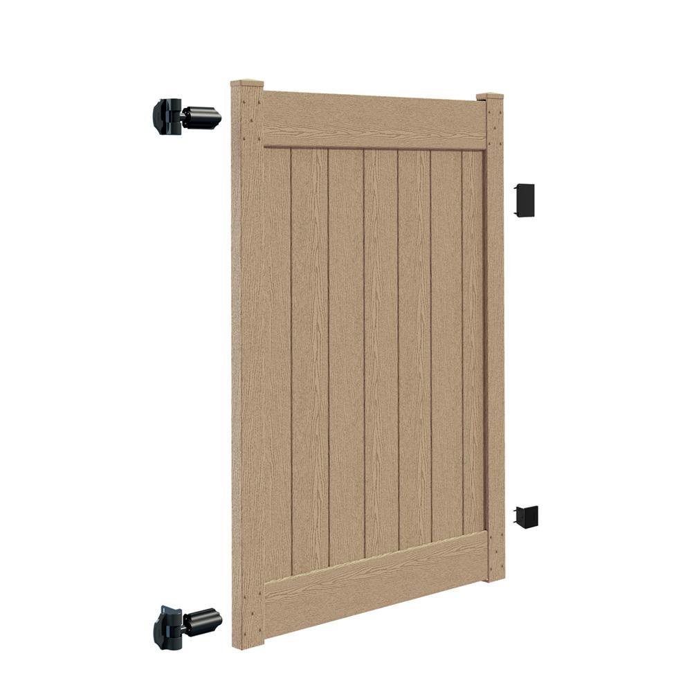 Acadia 4 ft. x 6 ft. Birchwood Vinyl Privacy Fence Gate