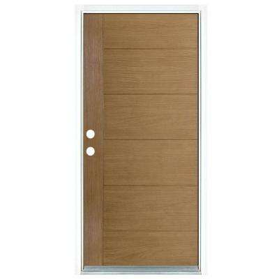 36 in. x 80 in. Contemporary Teak Modern Light Oak Right-Hand Inswing Stained Fiberglass Prehung Front Door
