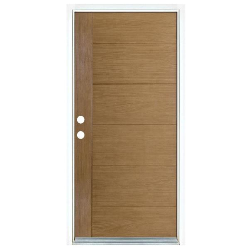 36 in. x 80 in. Contemporary Teak Modern Light Oak Right-Hand Inswing Stained Fiberglass Prehung Front Door